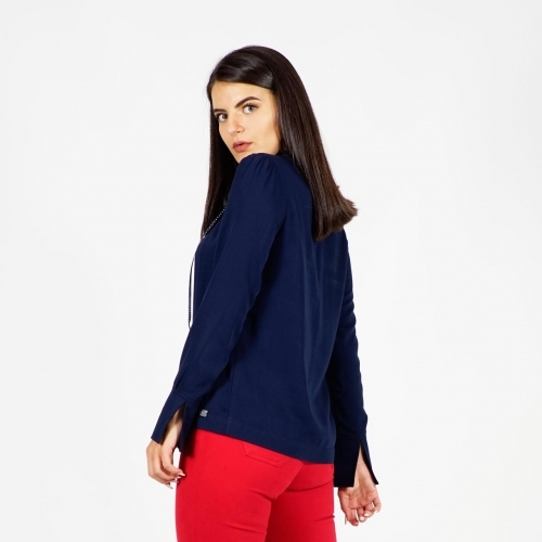 Casual - Elegant Dark Blue Ladies Viscose Blouse With Polka Dot Ribbon 10885