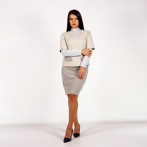 Elegant Women's Knit Suit Composed Of Skirt and Blouse In Sand Beige and Gray 10877-40376