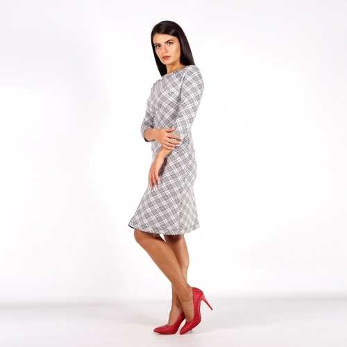 Elegant Women's Jersey Checked Black and White Dress 20775