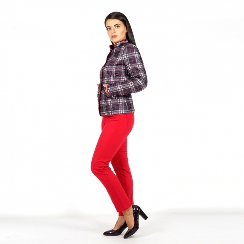 Casual Women's Quilted Checked Jacket in Black, White and Red 80715