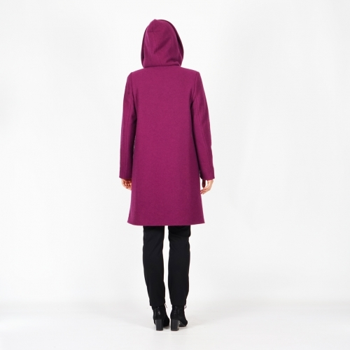 Women's Wool Quilted Winter Violet Coat With Hood
