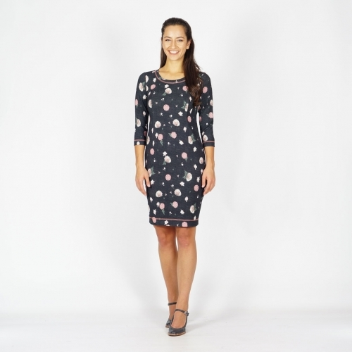 Women's Floral Printed Jersey Graphite Color Dress 20795