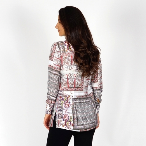 Lady's long white shirt with colorful print - 30252