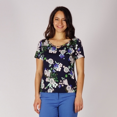 Ladies Floral Printed Jersey Blouse With Particular Neckline And Short Sleeve 10870