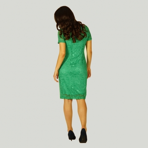 Ladies Lace Green Dress With a Cotton Knitwear Lining And Short Sleeves 20744