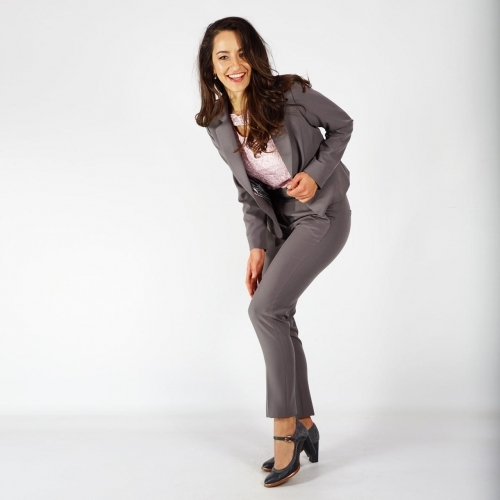 Elegant Ladies Gray Suit With Lining and Nine - Tenth Trousers 80685-60504
