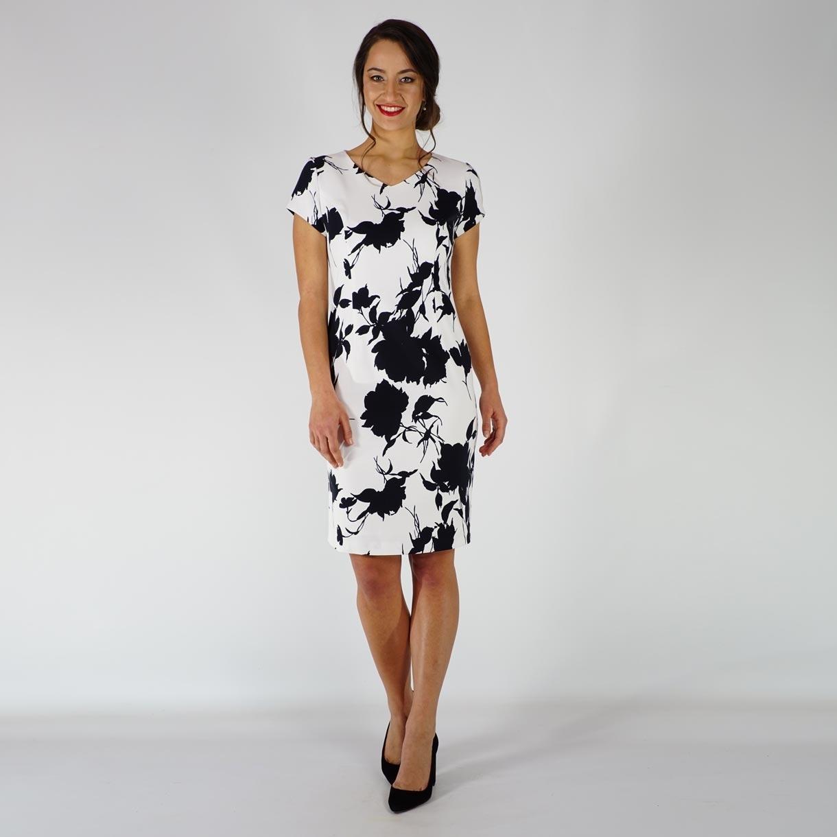 f2602192487 Елегантна черно бяла дамска рокля от памук сатен с прав силует и къс ръкав  20709