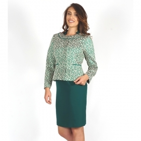 Elegant Women's Suit Composed Of  Jacquard Jacket and Dark Green Dress With Lining 80657-20711