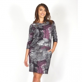 Elastic Women's Dress With a Loose Silhouette in Gray And Burgundy 20715