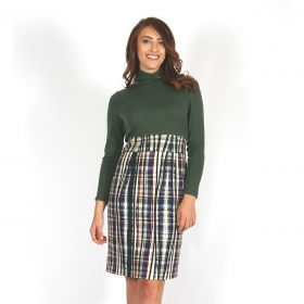 Casual Elegant Women's Dress With Knitted Upper Part and Checked Green Fabric Lower Part 20713