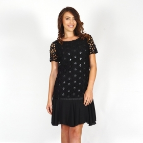 Black Formal Dress With Short Sleeves Made of Lace, Sequins, Chiffon And Eco Leather 20728