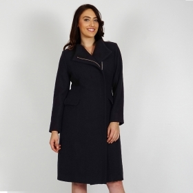 Women's Long Black Wool Coat With Cashmere, Quilted Lining and Metal Zipper 90201