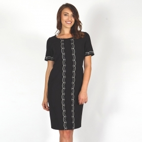 Elegant Black Lady Dress with Seal Lace with White Decoration and Short Sleeve 20691