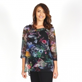 Elegant Women's Black Chiffon Tunic With Colorful Print And Cotton Lining 11111