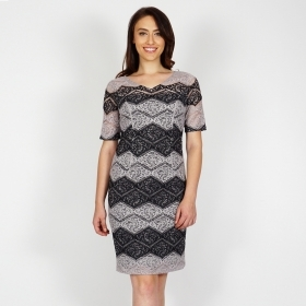 Formal Elegant Women's Lace Dress In Black And Gray With Short Sleeve 20707