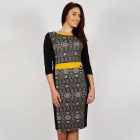 Elegant Black Jersey Dress with Yellow Neckline and Belt Fully Lined 20689