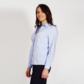 Women's Light Blue Cotton Contrast Placket Smart Shirt With Long Sleeve 30227