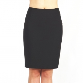 Elegant Women's Black Straight Business Length Skirt With Lining 40364