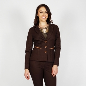 Women's Casual Brown Denim Pant Suit with Contrast Details 80672-60497