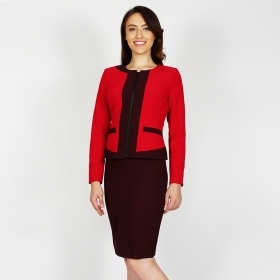 Elegant Women's Polka Dot Red Suit Composed Of Jacket And Skirt 80670-40360