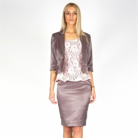 Formal lady's satin suit in mink colour consisting of a jacket with a skirt and a lace blouse 80624-40350-50114