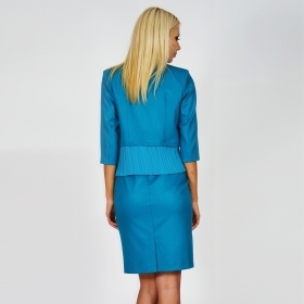 . Formal, elegant lady's suit, a jacket and a dress in turquoise colour combined with chiffon sunray pleats 80618-20622