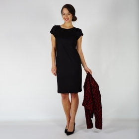 Elegant Women's Black Dress With Light Elasticity, Lining And Short Sleeves 20735