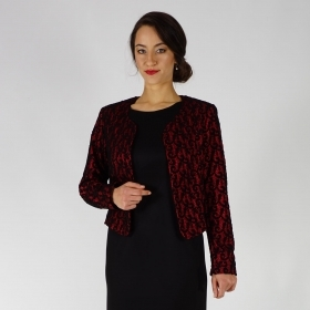 Elegant Ladies Formal Bolero Jacket In Red And Black With Lining 80693