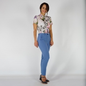 Elegant Ladies Nine-tenths Pants With Slight Elasticity In Pastel Blue Color 60503