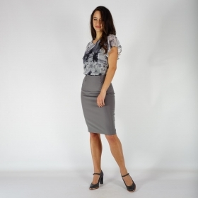 Elegant Women's Straight Gray Skirt With High Waist Business Length 40367