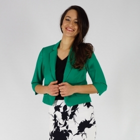 Elegant Ladies Short Green Jacket With Lining and Three Quarter Sleeve 80681