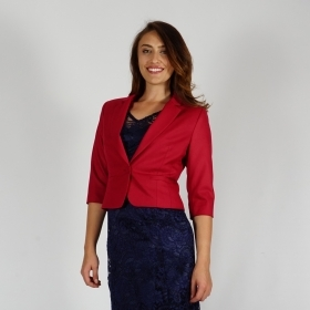 Elegant Short Jacket In Royal Red Fully Lined With Three - quarter Sleeves 80689