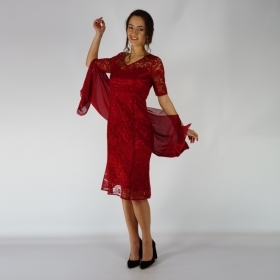 Ladies Formal Set Composed Of Lace  Dress In Royal Red Color And  Red Chiffon Scarf 20723