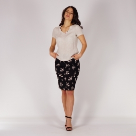 Casual Ladies Floral Printed Black Elastic Linen Skirt With Pockets 40369