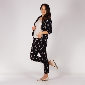 Casual Ladies Floral Printed Black Elastic Linen Trousers 60506