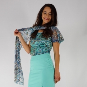 Ladies Lace  Blouse in Turquoise and Blue Colors With Jersey Lining and Scarf 10861