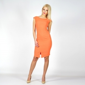 Elegant lady's orange dress with an exquisite slit on the lengthened front 20606