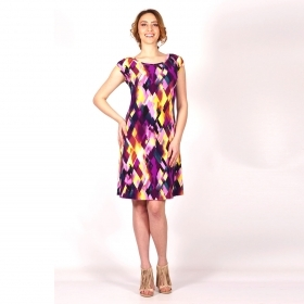 Women's Summer Abstract Printed Dress In Yellow, Burgundy And Pink 20653