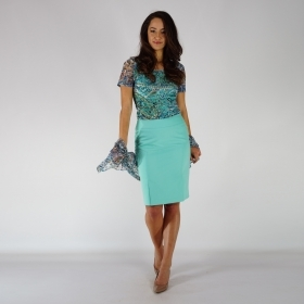 Sporty-elegant Ladies Skirt In Light Turquoise Color Made Of  Viscose Fabric Fully Lined 40372