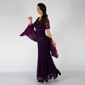Formal Ladies Long Lace Dark Purple Dress With Short Sleeves 20722