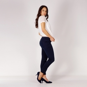 Casual Navy Blue Cotton Satin Pants With Back Outer Pockets 60511