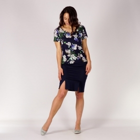 Casual Ladies Dark Blue Cotton Satin Skirt With Pockets And Two Slits 40373