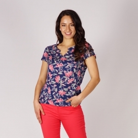 Ladies Viscose Short-sleeved Dark Blue Blouse With Floral Print In Watermelon and Green Colors 10865