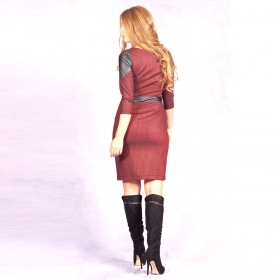 Ladies dress with leather 20592