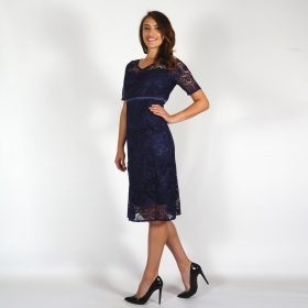 Formal Ladies Dark Blue Set Composed Of Jacket and Lace Dress With Sleeve 80689-20725