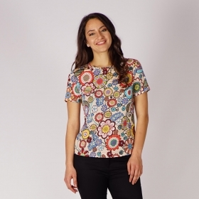 Women's  Viscose Jersey Blouse With Floral Print  In Beige, Red, Green And Blue 10869