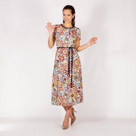 Ladies Summer Floral Printed Dress in Beige, Red, Green and Blue Made of Viscose Jersey 20747
