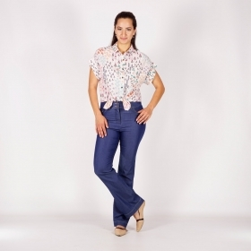Ladies Flare Jeans In Indigo With Contrast Stitching 60514