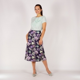 Elegant Ladies Dark Purple Satin Skirt With Floral Print And A-line Silhouette 40378