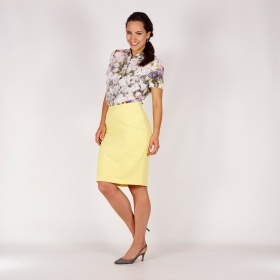 Elegant Straight Mid Waist Yellow Midi Length Skirt With Full Lining 40366